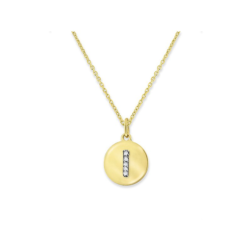 "KC Designs Diamond Mini Disc Initial ""I"" Necklace in 14k Yellow Gold with 5 Diamonds weighing .02ct tw."