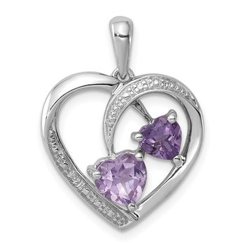 Sterling Silver Rhodium Plated Diamond/Amethyst/Rose de France Pendant