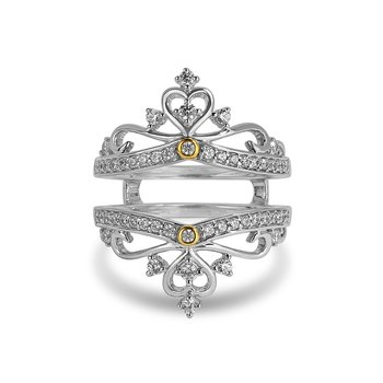 14K WY diamond Insert Crown band for Engagement ring in prong, pave and bezel setting