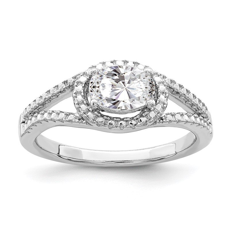 Quality Gold Sterling Silver Rhodium-plated Oval CZ Halo Ring