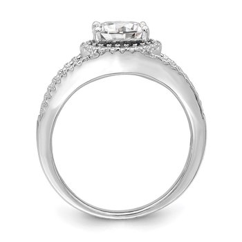 Sterling Silver Rhodium-plated Oval CZ Halo Ring