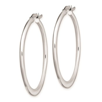 Sterling Silver Rhodium Plated Polished Tapered Hoop Earrings