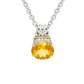 18kt and Sterling Silver Citrine & Diamond Pendant with Chain