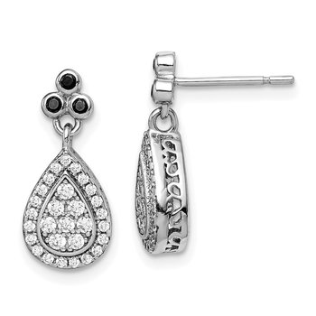 Sterling Silver Rhod-plated Black/ White CZ Teardrop Post Dangle Earrings
