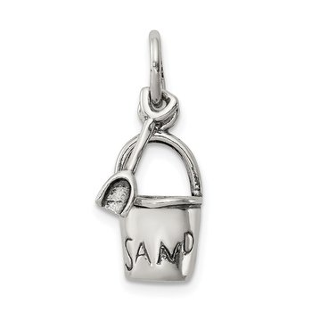 Sterling Silver Antiqued Sand Bucket and Shovel Charm