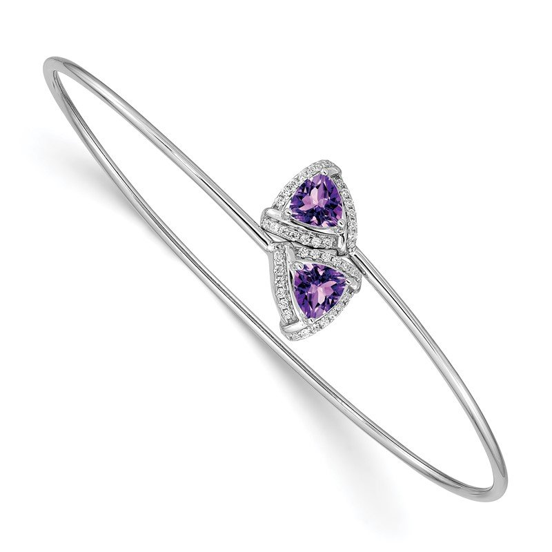 Quality Gold 14k White Gold Amethyst and Diamond Flexible Bangle