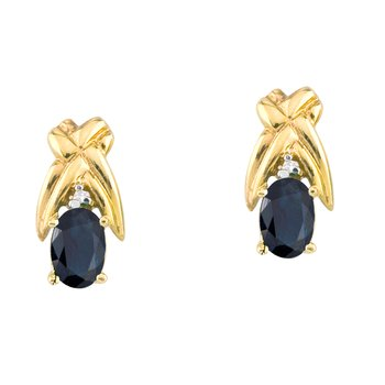 14k Yellow Gold 6x4mm Oval Sapphire and Diamond Stud Earrings