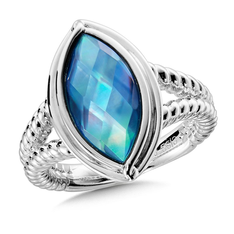 Colore Sg Sterling Silver Dyed Blue Mother of Pearl Fusion Ring