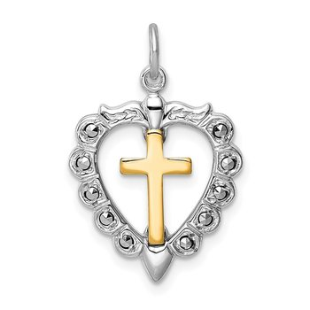 Sterling Silver Rhodium-plated & Gold Tone Cross Heart Pendant