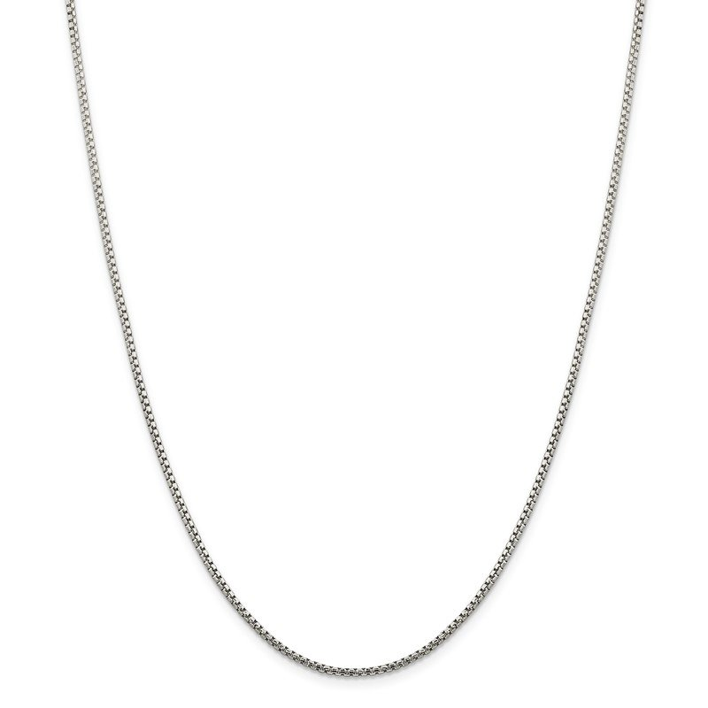 Quality Gold Sterling Silver 1.75mm Diamond-cut Round Box Chain