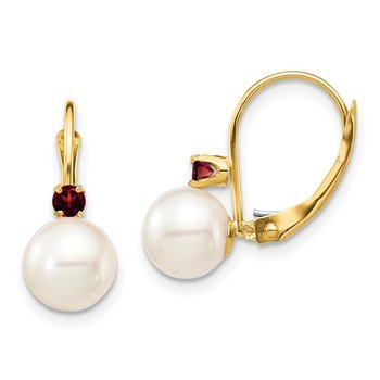 14K 7-7.5mm White Round FWC Pearl Garnet Leverback Earrings