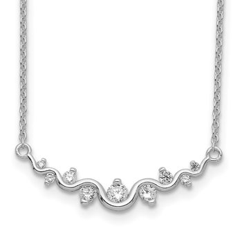 Sterling Silver Rhodium-plated Polished Fancy Wave CZ Bar Necklace