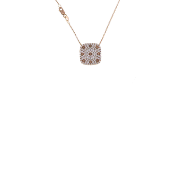 18KT GOLD PAVE DIAMOND SQUARE PENDANT