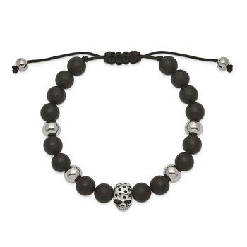 Stainless Steel Polished Black Onyx Beaded Skull Adj. Bracelet