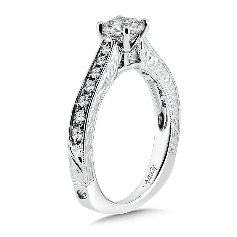 Inspired Vintage Collection Engagement Ring With Side Stones in 14K White Gold with Platinum Head (5/8ct. tw.)