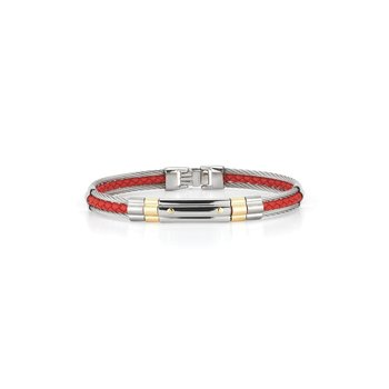 Grey Cable & Red Leather Striped Bracelet with Steel & 18kt Yellow Gold Station