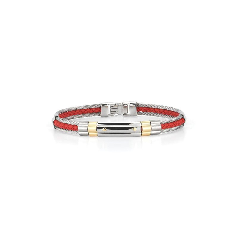 ALOR Grey Cable & Red Leather Striped Bracelet with Steel & 18kt Yellow Gold Station