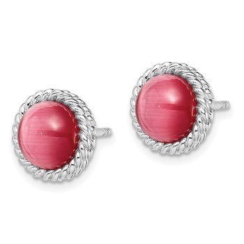Sterling Silver Rhodium-plated Created Pink Cats Eye Post Earrings