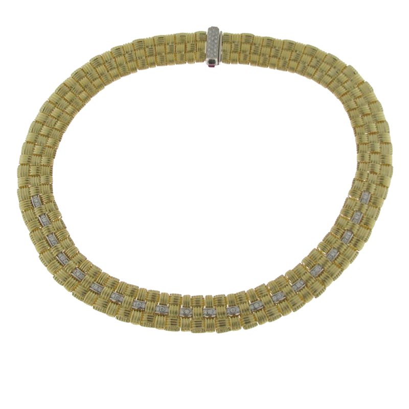 Roberto Coin 18Kt Gold 3 Row Necklace With Diamonds