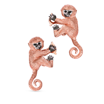 18KT GOLD MONKEY EARRINGS WITH BLACK SAPPHIRES