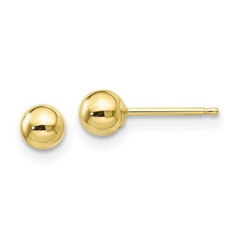 10k Polished 4mm Ball Post Earrings