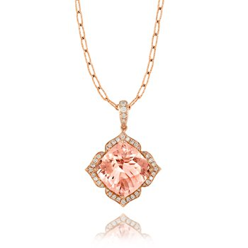 Rose Morganite & Diamond Halo Pendant 18KR