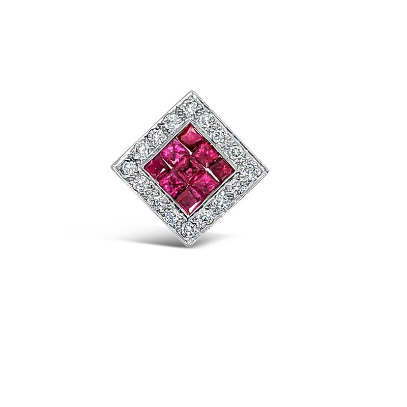 18K White Gold Diamond Natural Ruby Retro Pendant
