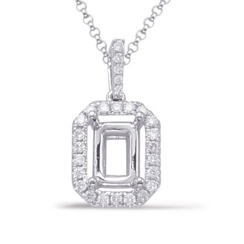 Diamond Pendant For 6x4mm Emerald Cut