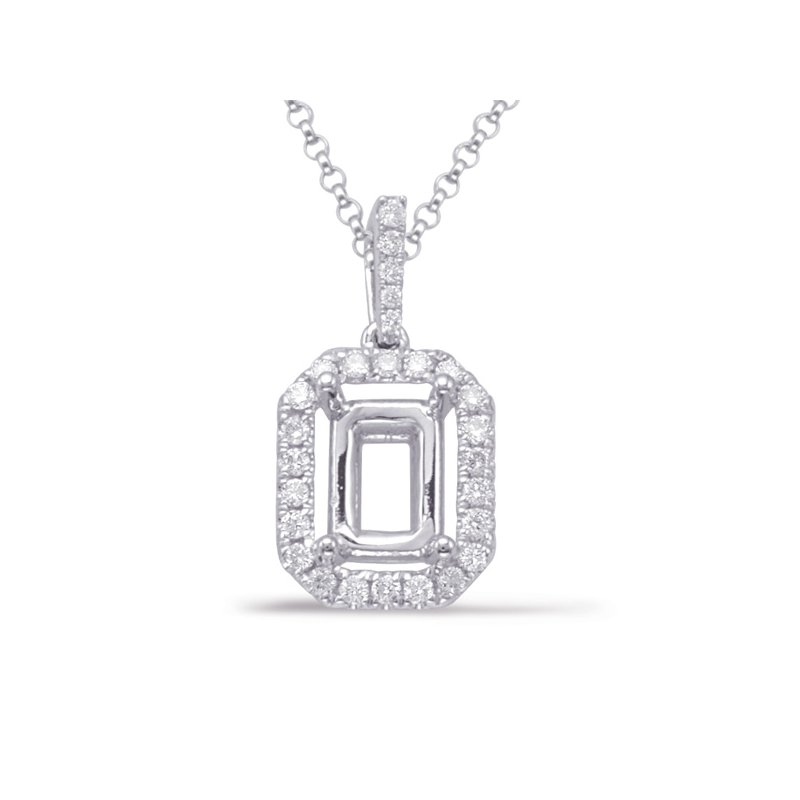 S. Kashi  & Sons Diamond Pendant For 6x4mm Emerald Cut