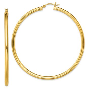 Sterling Silver Gold-Tone Polished 3x65mm Hoop Earrings