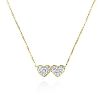 14K Gold and Diamond Double Heart Necklace