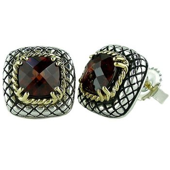 18kt and Sterling Silver Cushion Garnet Button Earrings