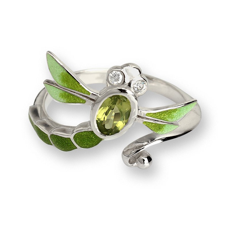 Nicole Barr Designs Green Dragonfly Ring.Sterling Silver-White Sapphire and Peridot