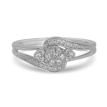 10K WG and diamond twist arm cluster halo petite Engagement ring in prong setting