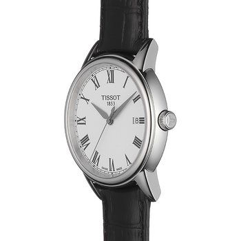 Carson Men's Quartz Watch with Black Leather Strap and Roman Dial