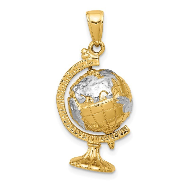 Quality Gold 14K w/Rhodium 3-D Moveable Globe Pendant