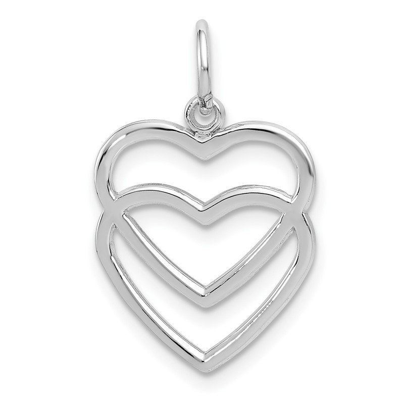 Quality Gold 14k White Gold Double Heart Charm