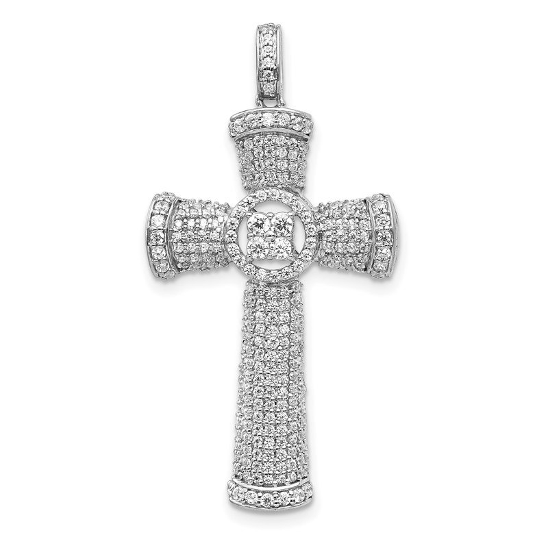 Quality Gold 14k White Gold Diamond Cross Pendant