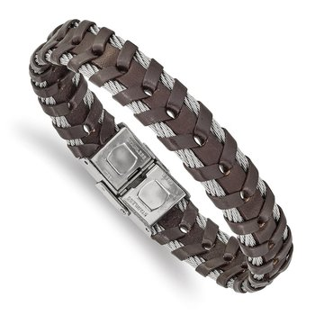 Stainless Steel Polished Cable and Brown Leather 8.25in Bracelet