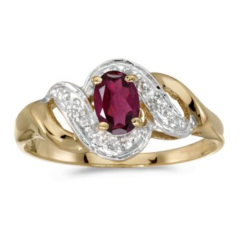 10k Yellow Gold Oval Rhodolite Garnet And Diamond Swirl Ring
