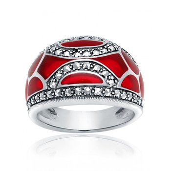 Red Enamel Mosaic Ring