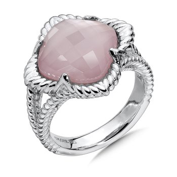Sterling Silver White Quartz & Dyed Rose Mother Of Pearl Fusion Split Shank Ring