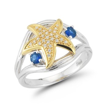"14K Diamond Starfish ring starfish 1/2"" diameter, top of ring 3/4"" wide"