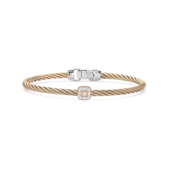 Carnation Cable Essential Stackable Bracelet with Single Square Diamond station set in 18kt Rose Gold