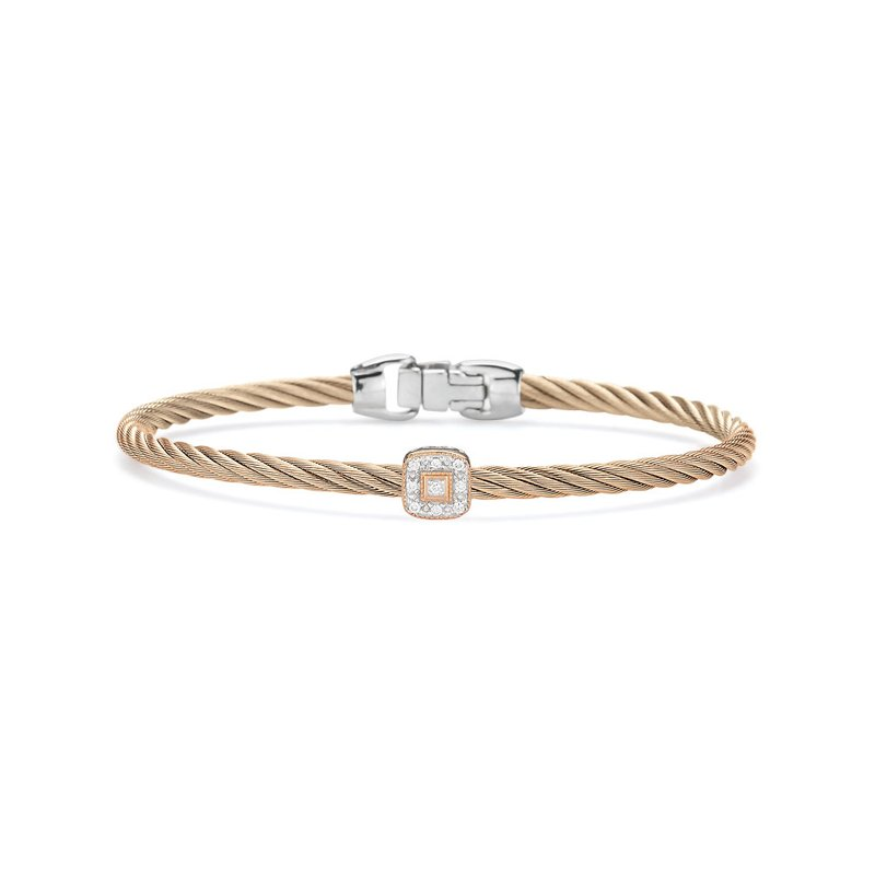 ALOR Carnation Cable Essential Stackable Bracelet with Single Square Diamond station set in 18kt Rose Gold