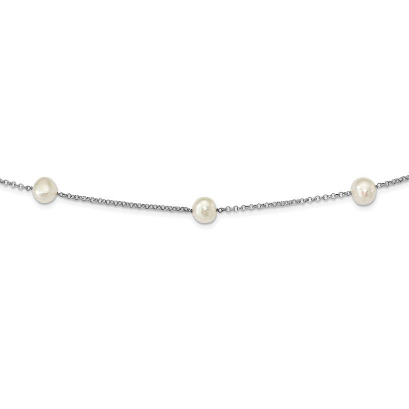 Quality Gold Sterling Silver Rhod-plat 9-10mm White Baroq FWC Pearl 7-stat Necklace