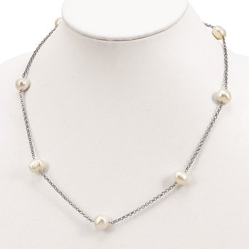 Sterling Silver Rhod-plat 9-10mm White Baroq FWC Pearl 7-stat Necklace