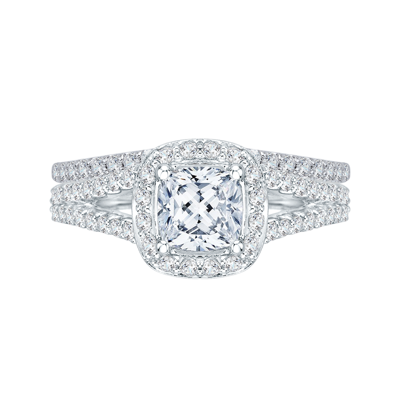 Promezza 14K White Gold Cushion Cut Diamond Halo Engagement Ring