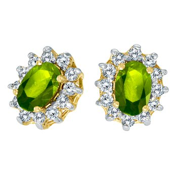 14k Yellow Gold Oval Peridot and .25 total ct Diamond Earrings