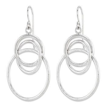 Leslie's Sterling Silver Brushed Shepherd Hook Dangle Earrings